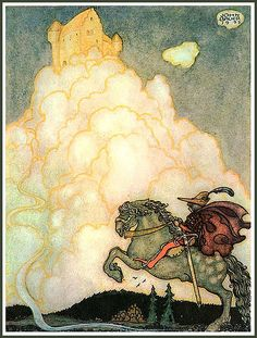 """Now he was riding, jubilantly happy, on the airy billowing highway toward the shining golden Castle of Rosy Clouds."" -- from The Maiden in the Castle of Rosy Clouds by Harald Ostenson Agneta (c.1910) by John Bauer"