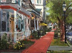 Down on Main Street by Joseph Gyurcsak Acrylic ~ 9 x 12 Landscape Paintings, Landscapes, Garden Entrance, Urban Landscape, Main Street, Urban Art, Gouache, Art Boards, Maine