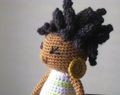 Crochet African American Plush Vegan Doll Black by LeenGreenBean