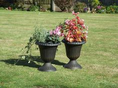 Garden Urn Planters X 2 Rustic Black With Antique Copper Wash Finish In  Garden U0026 Patio