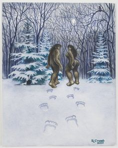 R. Crumb, Bigfoot Couple, 2000. Published in Fate Magazine (Galde Press), January, 2003. Photo: Courtesy Paul Morris and David Zwirner, New York © Robert Crumb