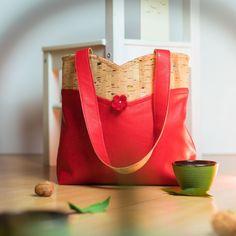 Sac Annie cousu par Madely - Tissu(s) utilisé(s) : simili cuir et tissu liège de luxe multicolor - Patron Sacôtin : Annie