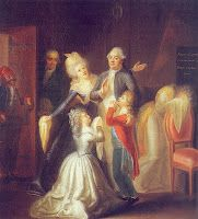 Louis spent his last evening saying goodbye to Marie Antoinette, their children, and his faithful sister, Princess Elisabeth.  According to the king's valet de chambre who was present, it was an agonizing, heart-rendering scene.  Marie Antoinette and Princess Elisabeth wailed.  The king's daughter, Madame Royale, fainted at her father's feet.  To make the parting easier, the king lied and promised his family he would visit with them the next morning.  www.leahmariebrown.net