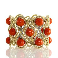 """Fashion Stretch Bracelet; 2.5""""L; Gold Metal; Clear Rhinestones And Red Cabochons; Eileen's Collection. $28.99"""