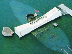 Aerial view of the USS Arizona Memorial in Hawaii - May we always remember Pearl Harbor Day - - December 1941 Pearl Harbor Memorial, Pearl Harbor Day, Pearl Harbor Attack, Visit Hawaii, Oahu Hawaii, Honolulu City, Day Of Infamy, Remember Pearl Harbor, Uss Arizona Memorial