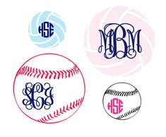 Monogram Softball or Volleyball Decal  Many by CarolinaCrazy, $5.00 I need the baseball one for my laptop.