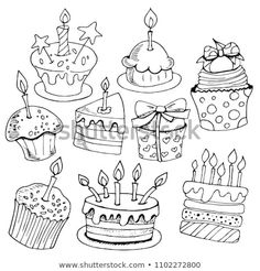Set Sketches Baking Birthday Cakes Desserts Stock Vector (Royalty Free) 1102272800 Set of sketches baking, birthday cakes, desserts, black and white on white background, hand drawing Doodle Drawings, Doodle Art, Easy Drawings, Cake Sketch, Banner Doodle, Creative Birthday Cards, Cake Drawing, Background Drawing, Birthday Background