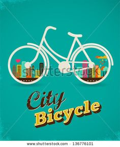 Bicycle with city landscape, vintage poster - stock vector