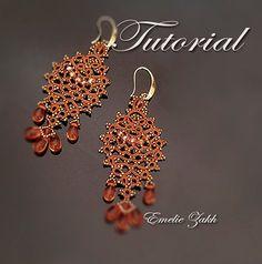 Frivolité dentelle motif clair cuivre frivolite boucles d'oreilles frivolité avec perles frivolite boucle d'oreille d'instruction boucles d'oreilles perles Boucles d'oreilles