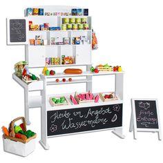 Sun Kaufmannsladen mit Tafel und Kundenstopper Weiß Kaufladen Kinder NEU
