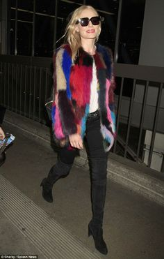 Eye-catching: Kate Bosworth showed off her fashion credentials as she arrived in Los Angel...
