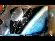 Earth&Moon – Spray Paint Art by René Schell – Skin Care Tips Spray Paint Canvas, Spray Paint Projects, Diy Spray Paint, Art Projects, Space Painting, Painting & Drawing, Painting Tricks, Spray Can Art, Pop Art