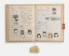 """""""What I Didn't Learn in Hebrew School"""" by Lisa Kokin: Mixed media book collage, 11.75 x 9.5 x .25 inches, 2005"""