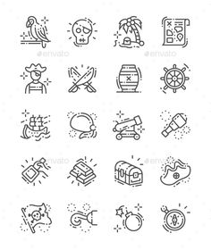 Buy Pirate Set Line Icons by PalauDesign on GraphicRiver. UI Pixel Perfect Well-crafted Vector Thin Line Icons Grid for Web Graphics and Apps with Editable Str. Pirate Hook Tattoo, Pirate Tattoo Simple, Pirate Skull Tattoos, Simple Line Drawings, Cool Art Drawings, Map Design, Icon Design, Body Art Tattoos, Ship Tattoos