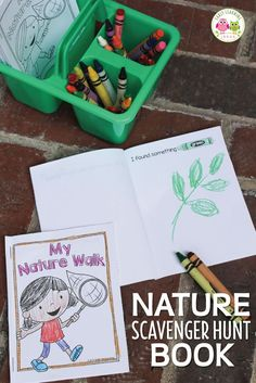 Use these free printable nature scavenger hunt books to encourage kids to write, draw, and read while exploring their world. Perfect for pre-k, preschool or kindergarten age kids. Use on the playground, during nature walks or hikes, on camping trips, in t