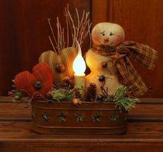 handmade primitive snowman #NaivePrimitive