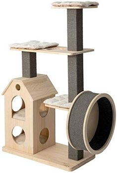 ZYK Wooden Cat Tree Modern Cat Furniture Cat Condo with House,Cat Scratching Post Indoor for Cats and Kittens?Cat Tree Wooden Belt Mute Running Wheel *** Click image for more details. (This is an affiliate link) Vesper Cat Furniture, Modern Cat Furniture, Condo Furniture, Wooden Cat Tree, Wood Cat, Cat Tree Condo, Cat Condo, Cat Castle, Cool Cat Trees