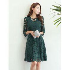 ドレス-ミニ・ミディアム 総レースフラワー七分袖ミドルAライドレス「全2色」(3)