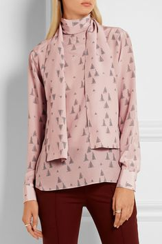 Pastel-pink, light-gray and burgundy silk crepe de chine Button-fastening keyhole at back 100% silk Dry clean Made in Italy