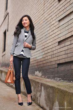 ExtraPetite.com - Winter layers: Knit blazer   mixed prints
