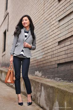 ExtraPetite.com - Winter layers: Knit blazer, mixed prints & Banana Republic Sloan fit ankle pant