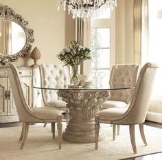 American Drew Jessica McClintock The Boutique Round Glass Dining Table