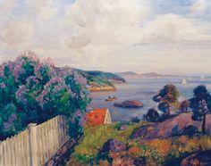 Thorolf Holmboe 1866-1935: Kystlandskap med blomstrende syriner