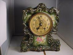 Beautiful China cased Parlor #98 Waterbury Clock Co. clock runs, needs cleaning