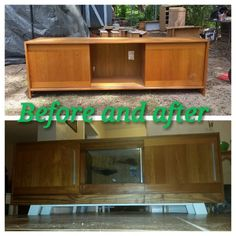 Mid century modern makeover,  transform without painting beautiful wood, made in Denmark,  t.v. console, buffet.