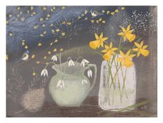 Snowdrops and blue tits - Lucy Grossmith