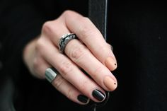 black, nude and dots manicure