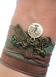 Owl Silk Wrap Bracelet Yoga Jewelry Tree by BohemianEarthDesigns, $29.95