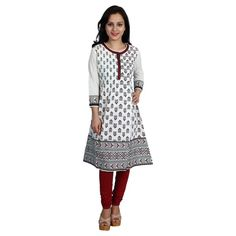 Printed Cotton Kurti White - Satarangi Bazar