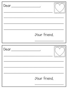 Friendly Letter Template and Example  Valentines Friendly letter