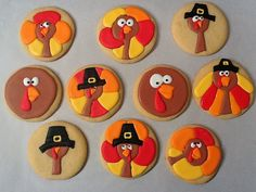 Tom Turkey Cookies - The Art of the Cookie Fancy Cookies, Iced Cookies, Cut Out Cookies, Cute Cookies, Royal Icing Cookies, How To Make Cookies, Cupcake Cookies, Sugar Cookies, Cupcakes