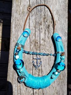 Teal anchor lucky horseshoe by ShoesofLuck on Etsy