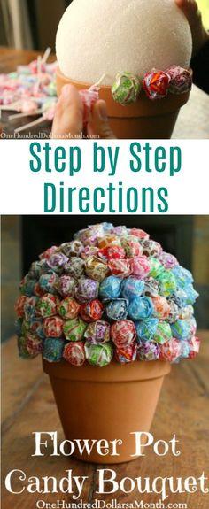Flower Pot Candy Bouquet, Candy Gifts, Graduation Gifts, Teacher Gifts,