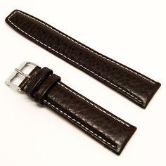 2685e92fca8 LUX Jax Black Leather Buffalo Grain Padded Watch Band w  White Stitching