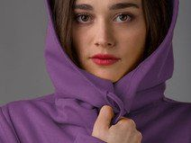 Long hoodie jacket in lovely purple with pockets