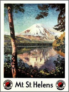 MT St Helens 1920 #Washington Northern Pacific Railroad Vintage Poster Art Print
