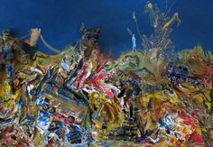 """Detail of a painting made by Gustavo Charif in Kuala Lumpur in 2013.  """"More Than Just Crunch"""" (76,5 x 122 cm., mixed media on canvas)."""