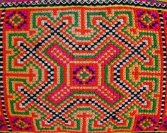 detail of hmong hill tribe embroidery