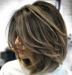 70 Brightest Medium Layered Haircuts to Light You Up Ash Brown Balayage Lob With Layers Medium Hair Cuts, Short Hair Cuts, Pixie Cuts, Short Wavy, Thick Hair Styles Medium, Short Pixie, Hair Cuts Thick Hair, Hairstyles For Medium Length Hair With Layers, Bob Hair Cuts