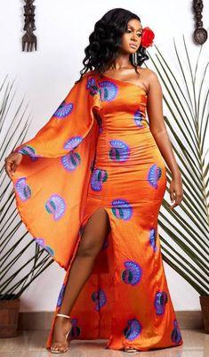 African Print Fashion, Fashion Prints, African Outfits, Wrap Dress, Fashion Dresses, Shoulder Dress, Silk, Model, Fabrics
