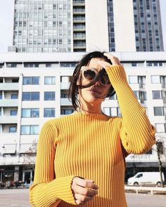 Sweater: ribbed yellow sunglasses mustard mustard cat eye top ribbed top yellow…