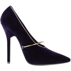 Givenchy by Riccardo Tisci pointed shoe with gold bar strap in purple,