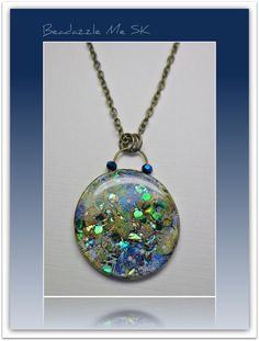 Polymer clay Jewelry Midnight Sky Sapphire Crystal Pendant by BeadazzleMe, $16.00