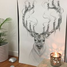 deer with candlestick by IrikStudio on Etsy