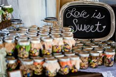 Love is sweet! Rusty. Wedding. Trail mix! Wedding favor! Mason jars. Doug & Jamie's Wedding ~ 10.26.13  Photo By Darin Crofton Photography