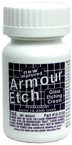Armour Etch Glass Etching Cream is a fast acting specially formulated compound that lets you create permanent etched designs on windows, mirrors, and household glassware. This unique system enables anyone to personalize and decorate glass or mirrors in minutes with no previous experience. Not intended for use by children. Bottle 3 oz